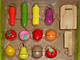 Emob 12 Pcs Wooden Realistic Velcro Sliceable Vegetables & Fruits Cutting Playset Toy with Chopping Board and Knife