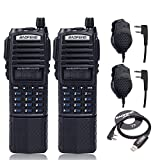 2pcs Baofeng UV-82 8W High Power 3800mAh Extended Li-ion Battery Two Way Radio Dual Band Radio 136-174mhz&400-520mhz Amateur (Ham) Portable Radio + 2 Speaker + 1 USB Programming Cable