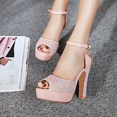 LvYuan Mujer-Tacón Robusto-Otro-Sandalias-Boda Vestido Fiesta y Noche-Purpurina-Azul Rosa Blanco Pink
