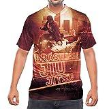 Idakoos Brasilian Jiu Jitsu Print 3D Men V-Neck T-Shirt Polyester Size M