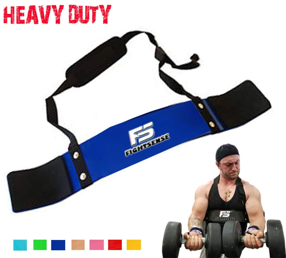 FIGHTSENSE Arm Blaster Biceps Curl Triceps Muscle Isolator Bomber Fitness Gym Workout Training Support (Blue)