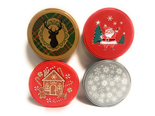 Christmas Holiday Cookie or Treat Plastic 7 inch Tins With Lids - Set of Four