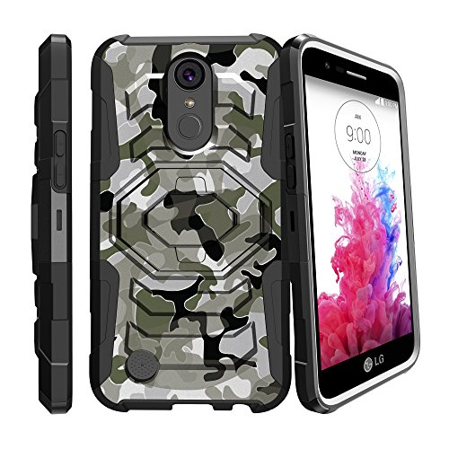 [Armor Reloaded] Compatible with [ LG Grace, LG Harmony , LG K20 Plus, LG V5, LG K10 (2017)] Shockproof Hybrid Kickstand Case Heavy Duty Rugged Swivel Armor Case [MINITURTLE] - Swamp Camo