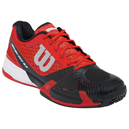 Wilson  Rush Pro,  Unisex-Erwachsene Tennisschuhe , Mehrfarbig (Rot/Schwarz)- Größe: 41 1/2