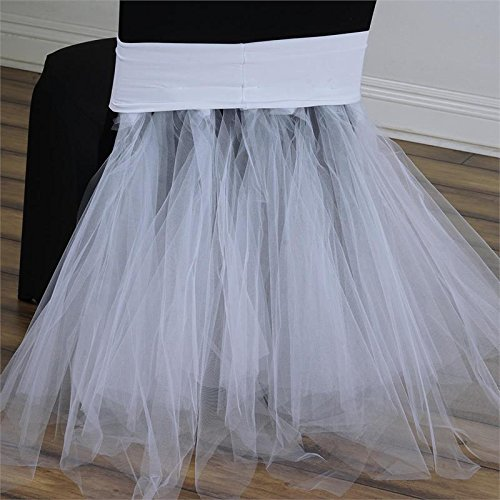 Wholesale Tutu Supplies (BalsaCircle White Stretchable Spandex with Tulle Tutu Chair Sash Slipcovers for Wedding Bridal Shower Party Reception)
