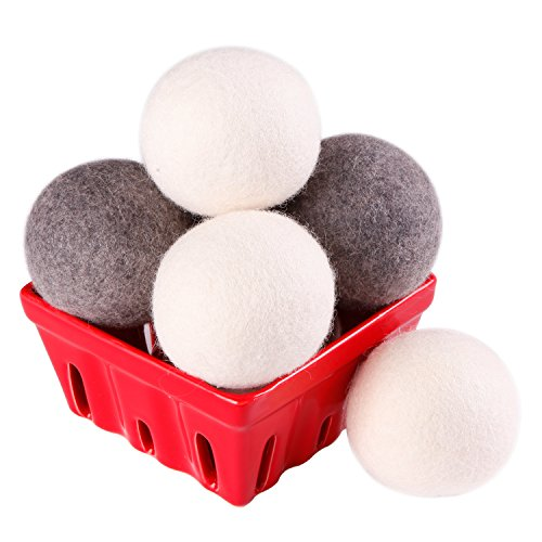 Wool Dryer Balls - 100% Organic Wool, 6 Pack XL Natural Fabric Softener, Handmade Laundry Dryer Ball Reduce Wrinkles, Static Cling, Hypoallergenic, Chemical Free, Non-Toxic Reusable (3white+3gray)