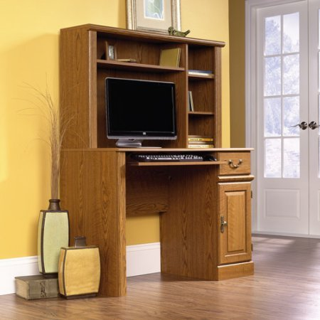 Computer Desk with Hutch, Carolina Oak Finish, Traditional American Country Style, Carolina Oak Finish, Slide-Out Keyboard/Mouse Shelf with Metal Runners and Safety Stops, Enclosed Back Panel