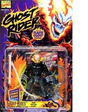 "Ghost Rider 5"" Posable Figure with Chain Whipping Action and Flame Glow Details"