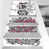 Stair Stickers Wall Stickers,6 PCS Self-adhesive,Sketchy,Ink Illustration of a Woman on Poppy Field Surrounded by Flowers Spring Theme,Black White Pink,Stair Riser Decal for Living Room, Hall, Kids Ro