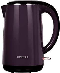 Secura 1.8 Quart Stainless Steel Electric Water Kettle Double Wall Cool Touch Exterior Dark Purple …