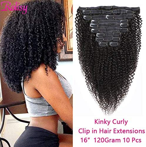 Rolisy Kinkys Curly Clip in Hair Extensions Afro 3C 4A Kinky Curly Clip ins Real 8A Brazilian Remy Hair for Black Women Double Lace Wefts Hair,Natural Black Color,10 Pcs,120 Gram,16 Inch