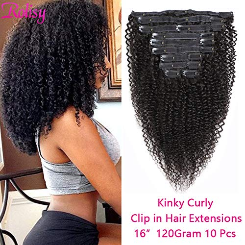 Rolisy Kinkys Curly Clip in Hair Extensions Afro 3C 4A Kinky Curly Clip ins Real 8A Brazilian Remy Hair for Black Women Double Lace Wefts Hair,Natural Black Color,10 Pcs,120 Gram,16 Inch (Remy Human Curly Hair Extensions)