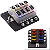 Toogoo 8 Way Blade Fuse Box Holder with LED Light Damp-Proof Block Marine Car Boat Automotive RV DC 32V Waterproof with Cover & Fuse & Stickers