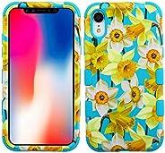 MyBAT Funda Case para iPhone XR, Doble Protector de Uso Rudo Tuff, color Narcisos