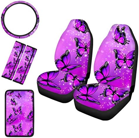 Cup Holder Coasters Auto Keychains Seat Belt Strap Cover WELLFLYHOM Purple Butterfly Car Seat Cover Full Sets for Women Girly Cute Print with Stretchy Steering Wheel Cover Easy to Clean