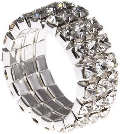 PammyJ 3 Row Clear Crystal Stretch Fashion Ring