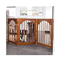 Majestic Pet Universal Free Standing Pet Gate (Wood Insert and Cherry Stain)