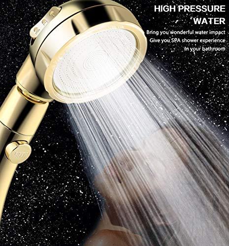 Duschkopf-Set Hochdruck-Handbrause mit An//Aus-Schalter 3 verschiedene Spr/ühoptionen ABS-Chrom-Finish Duschkopf verstellbarer Griff Silber abnehmbares Badezimmer-Zubeh/ör