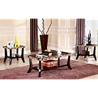 Maison Furniture 3 pc Faux marble top coffee table set with curvy legs