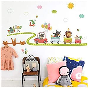 Buzdao Cartoon Trucks Tractors Cars Wall Stickers Kids Rooms Vehicles Wall Decals Art Poster Photo Wallpaper Home Decor Mural Decal