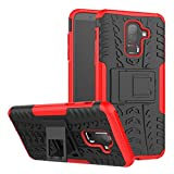 Galaxy J8 2018 Case Armor DWaybox Hybrid Rugged Heavy Duty Hard Back Cover Case with Kickstand for Samsung Galaxy J8 2018 6.0 Inch (Red)