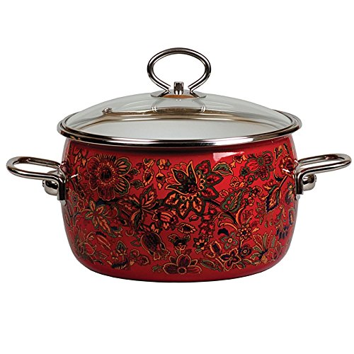 Khokhloma Vitross Imperio Enameled Cooking Pot with Glass Lid 3 L Red