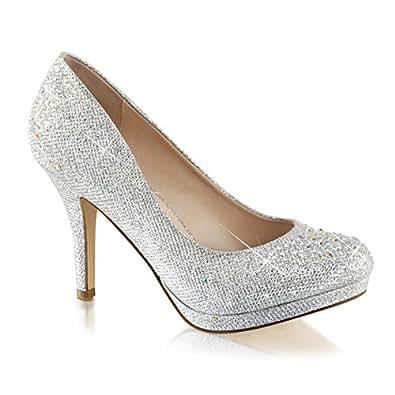 Summitfashions Womens Silver Rhinestone Shoes Glitter Pumps Sparkly High Heels 3 1/2 inch Heel Size: 5