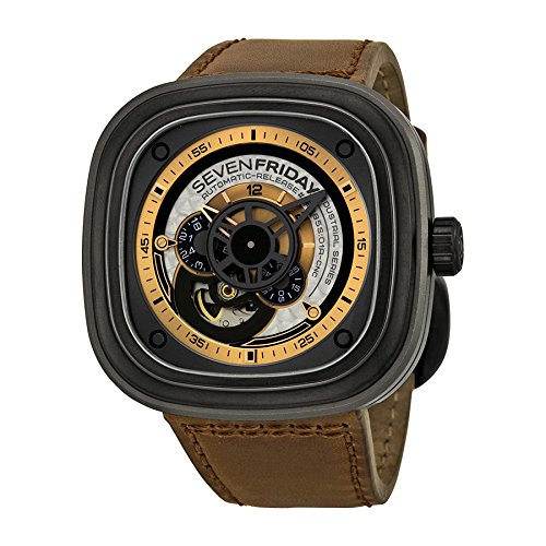 SEVENFRIDAY Men's P2-1 Revolution Analog Display Japanese Automatic Brown Watch