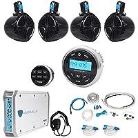 Rockville RGHR2 Marine Bluetooth Receiver+Remote+4) 8 Wakeboards+4-Ch Amplifier