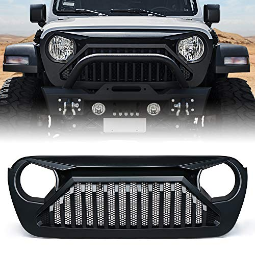 Xprite Gladiator Series Front Matte Black Grille with Mesh Grill Cover for 2018-2019 Jeep Wrangler JL
