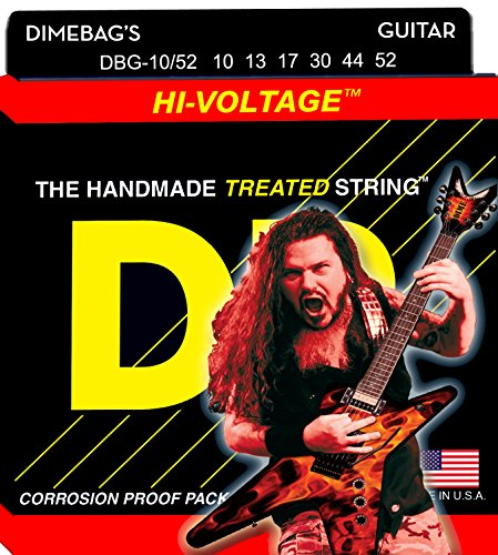 DR Strings Electric Guitar Strings, Dimebag Darrell Signature, Treated Nickel-Plated, 10-52