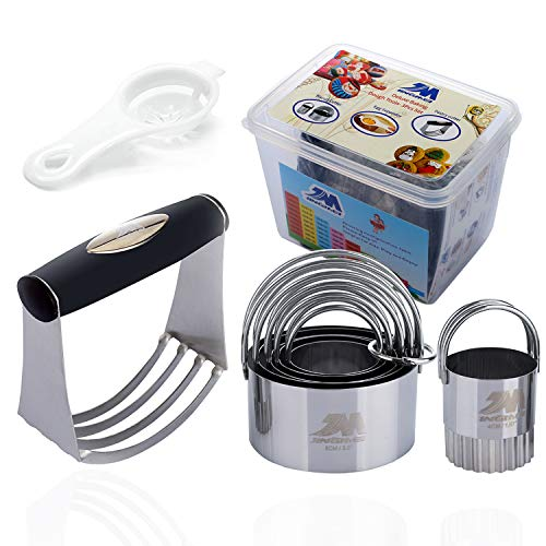 Pastry Cutter Set Biscuit Cutter Set (5 Circle+1Fluted Edge) Dough Blender Mixer Cookie Cutters Round Baking Dough Tools & Pastry Utensils with Egg Separator Gift Box!