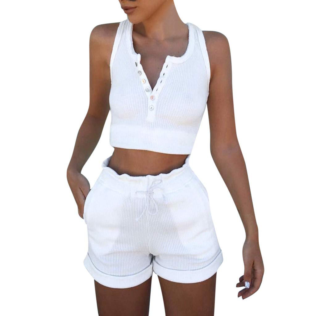 Uscharm Button Sleeveless Blouse Womens Summer Sleeveless Tops O-Neck Tanks Solid Color Camisole (White, S) by Uscharm (Image #1)
