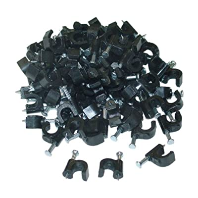 CableWholesales RG6 Cable Clip, Black (100 pieces per bag)