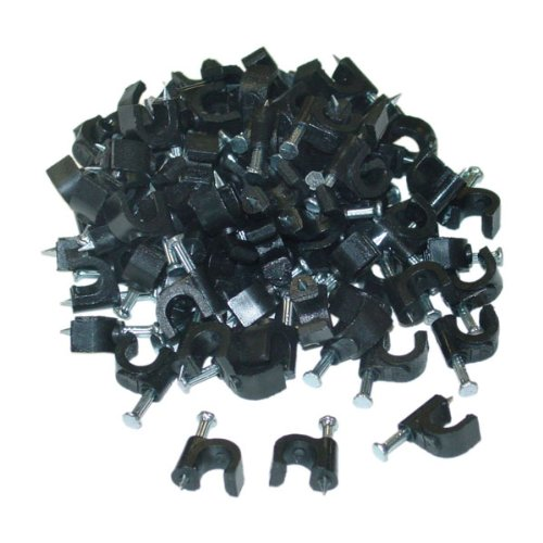 (CableWholesales RG6 Cable Clip, Black (100 pieces per bag))