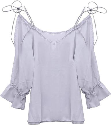 TENDYCOCO Camisa con Hombros Descubiertos Camisa de Gasa de Manga Larga Blusa Estilo étnico Vintage para Mujeres niñas -S (Gris): Amazon.es: Ropa y accesorios
