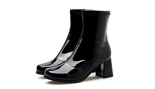Charol de Mujer Color Caramelo Botines de Tacón Grueso Street Shoot Catwalk Modelo Martin Boots Elementos de Moda Sandalias: Amazon.es: Zapatos y ...