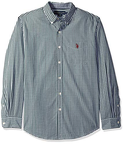 - U.S. Polo Assn. Men's Long Sleeve Classic Fit Plaid Shirt, Park Green, L