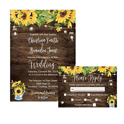 Rustic Sunflower Wedding Invitations and Self Mailing RSVP Cards - Includes Envelopes for Set by Party Printery