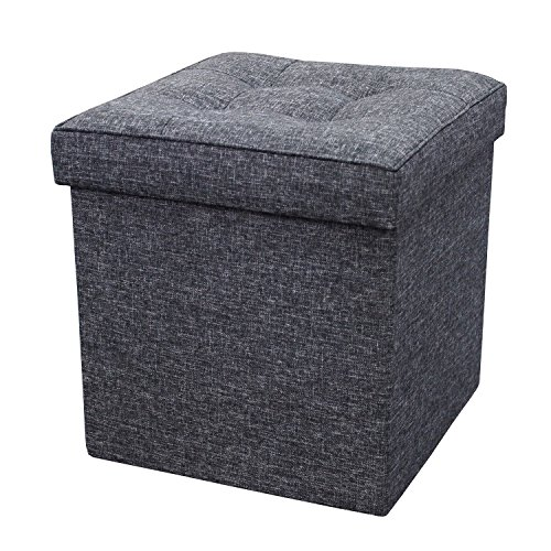 Zulera Storage Ottoman Foldable with Square Padded Seat 15 x 15 (Black)