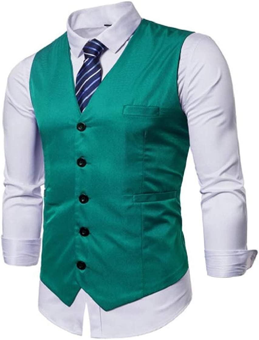 CrazyDay Mens Casual Plus Size Classic Single-Breasted Business Waistcoat+Necktie