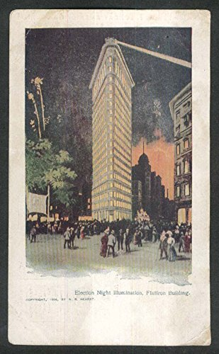 (Election Night Illumination Flatiron Building NY undivided back postcard 1904)