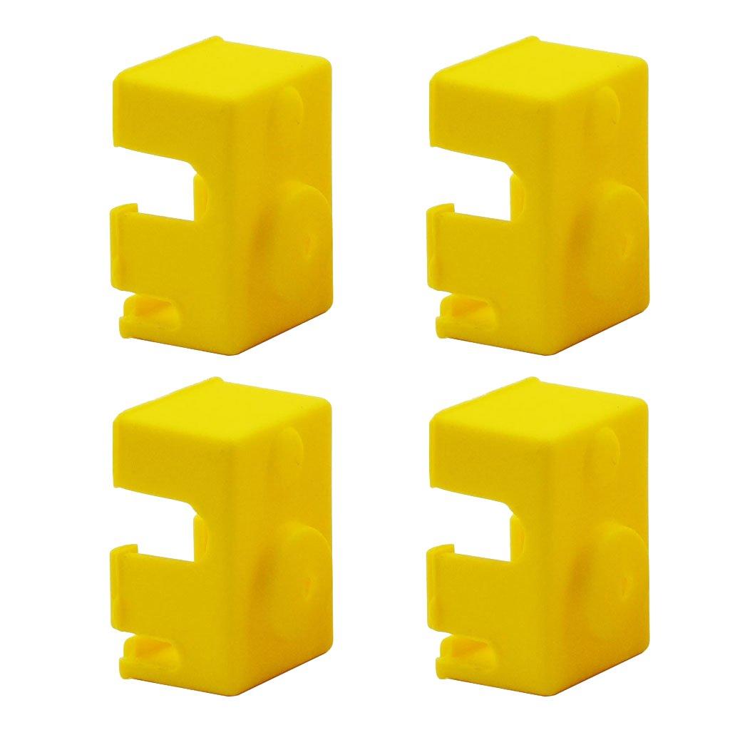kokiya 4 UNIDS Funda De Silicona para V6 PT100 Bloque De Aluminio 3D Impresora Parte Hot End - Amarillo, 23x16x11.5mm