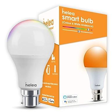 Helea 9W Wi-Fi Smart Bulb (B22), 16 million Colours + Warm White/Neutral White/White, Compatible with Alexa & Google Assistant