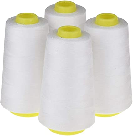 4 Pack of 6000 Yard Spools White Sewing Thread All Purpose 100/% Spun Polyester Overlock Cone 24,000 Total