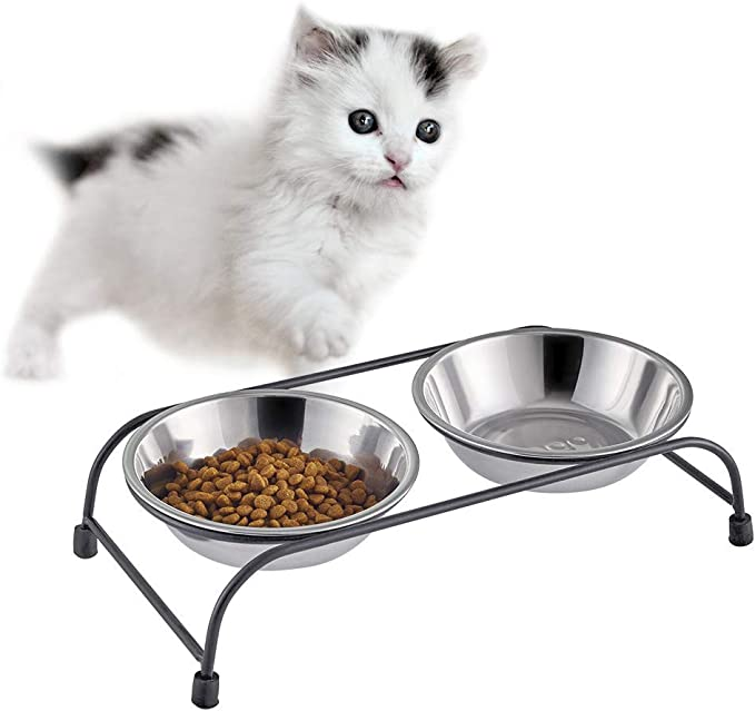 Amazon.com: XMSG Double Pet Feeder Dishes, Stainless Steel Food and Water Bowls with Iron Stand, Double Diner Pet Bowl for Small Dogs and Cats,S: Home & Kitchen