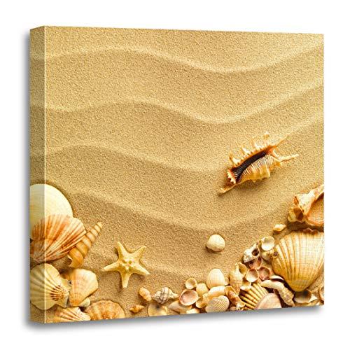 Semtomn Canvas Wall Art Print Pattern Sea Shells Sand As Seashell Starfish Beach Border Artwork for Home Decor 16 x 16 Inches