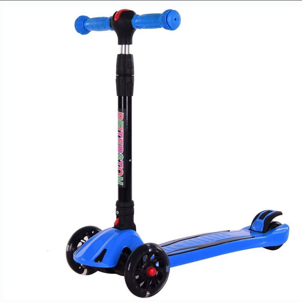 LLRDIAN Kinder Roller Klapp breites Rad Dreirad-Blitz Fahrrad Kind Anfänger yo Auto Einstellbarer Aufzug 2-12 Jahre alt Kinder Roller (Farbe   Rot) Blau