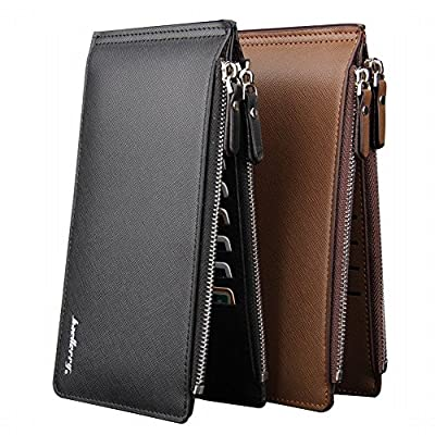 Zinuo Long Bifold Multi Card Holder Wallet Leather Purse with Zipper Pocket for Men