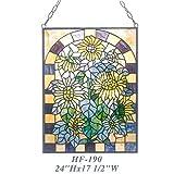 HF-190 Pastoral Tiffany Style Stained Glass Sunflower Art Decorative Window Hanging Glass Panel Suncatcher, 24''x17.5''